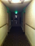 The room on the left is room 412 (my room). The exit door is the door that kept swinging open and thudding shut in the wind all night long.
