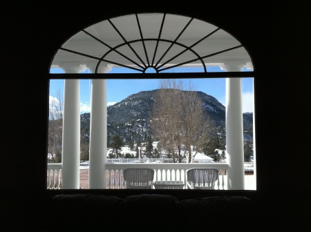 The view from one of the lobby windows.